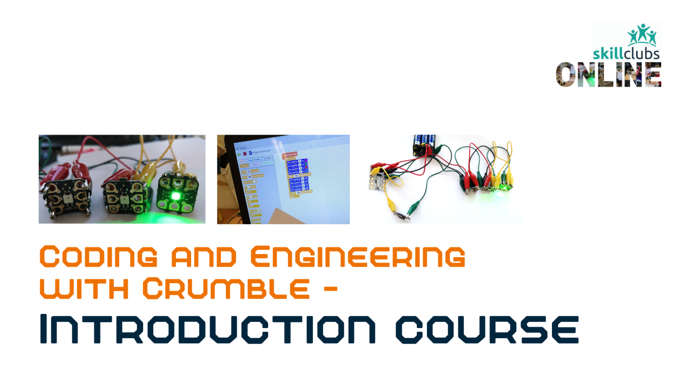 Get started making and coding with Crumble with your Micro-controller, battery pack, crocodile leads, a switch, 2 sparkles and a buzzer!